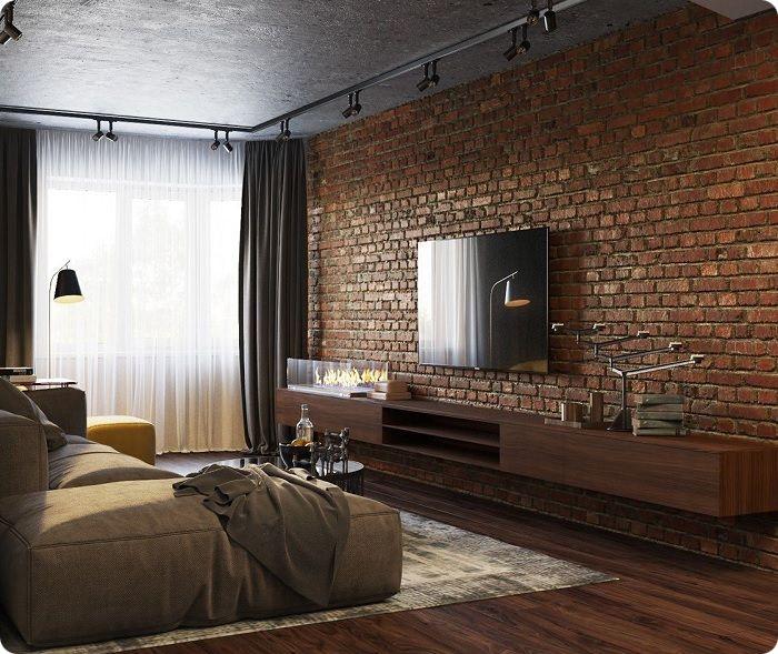 Интерьер в стиле лофт в коричневых тонах.