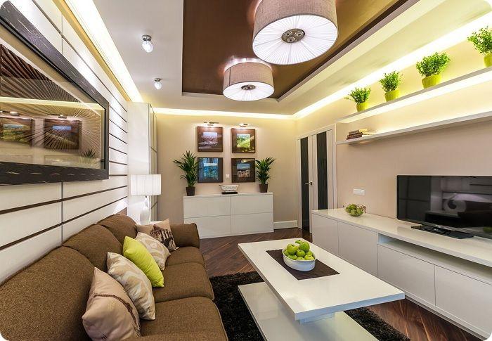 Кислотные элементы в интерьере гостиной.