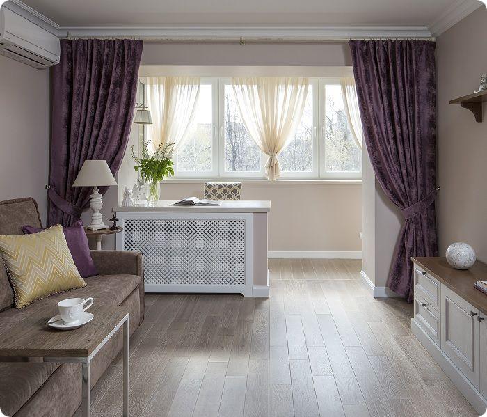 Фиолетовый текстиль в интерьере.