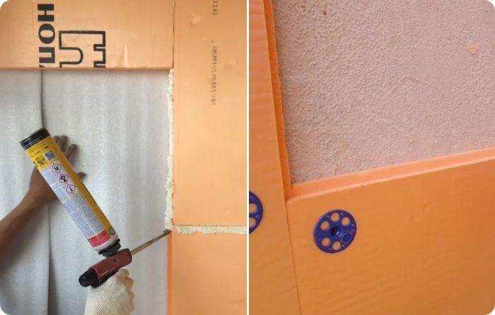 Крепление пеноплекса к стене бескаркасным способом.