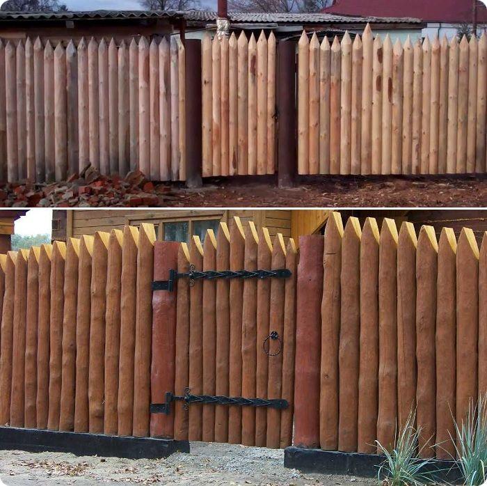 Частокол из шлифованных брёвен с заостренными вершками в славянском стиле