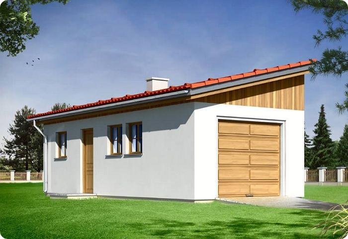 Дом с пологой односкатной крышей.