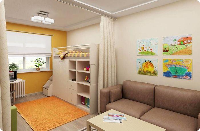 Функциональное зонирование в детской комнате.