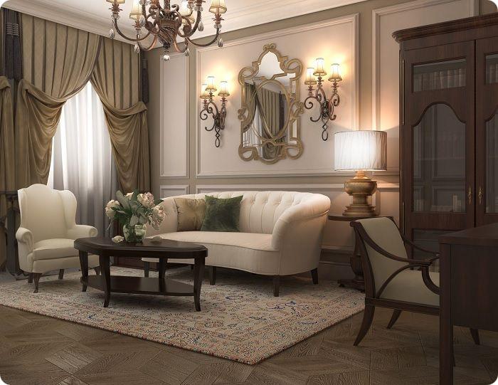 Уютная гостиная в классическом стиле.