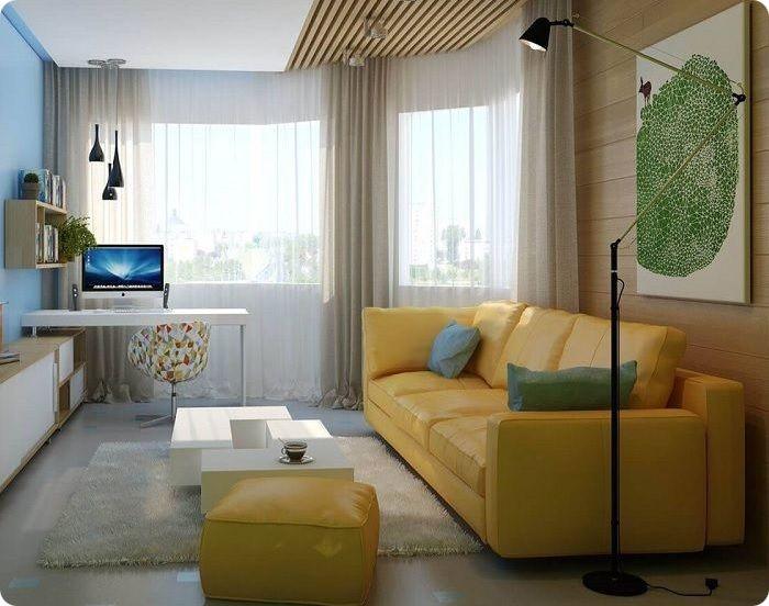 Жёлтый диван и пуф в интерьере.