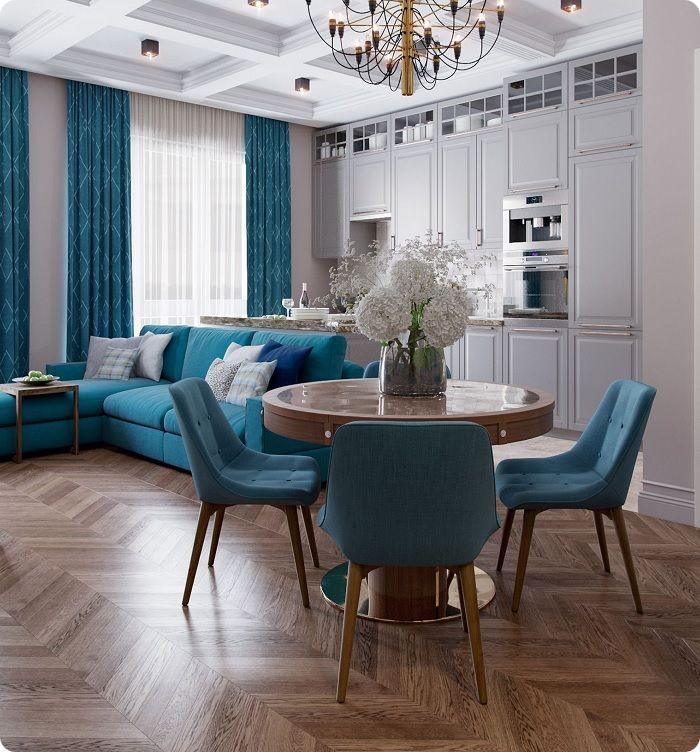 Гостиная с текстилем в синих тонах.
