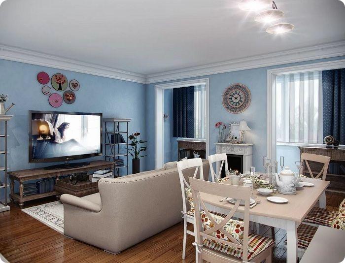 Гостиная может быть оформлена насыщенными синими глубокими тонами.