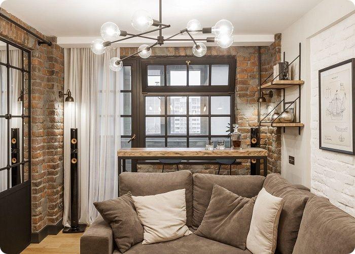 Уютная гостиная в стиле лофт.