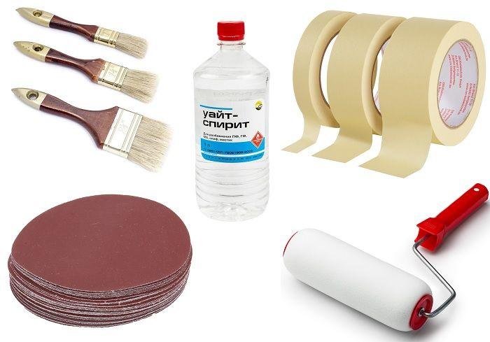Инструменты: кисти, валик, малярный скотч, мелкозернистая наждачная бумага и уайт-спирит.