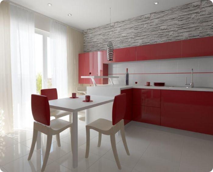 Просторная бело-красная кухня.