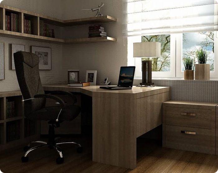 Интерьер домашнего кабинета может быть оформлен нейтральными тонами типа бежевого или всех полутонов серого в сочетании с другими неброскими цветами.