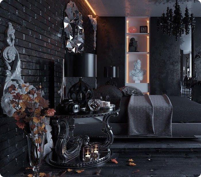 Чёрный интерьер спальни в стиле лофт и готика.