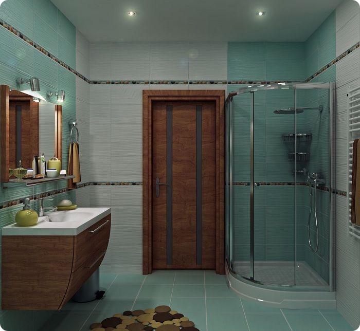 Ванная в сером, бирюзовом и коричневом тонах.