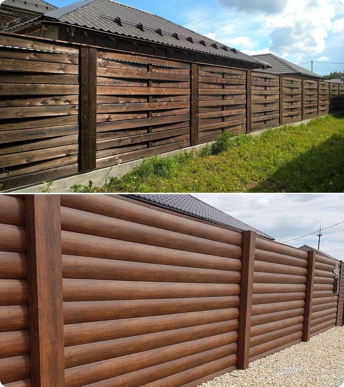 К более солидным версиям деревянных заборов относятся плетёная доска и блок-хаус.