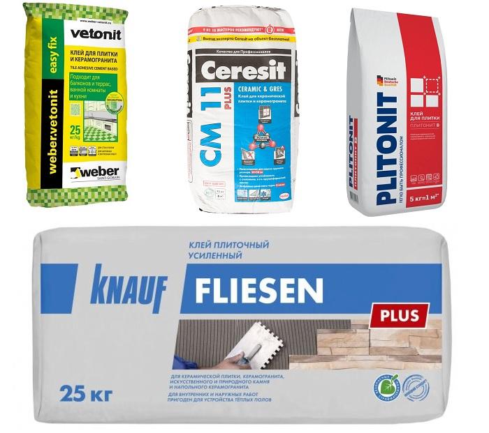 Производители плиточного клея Ветонит, Церезит, Плитонит и Кнауф.
