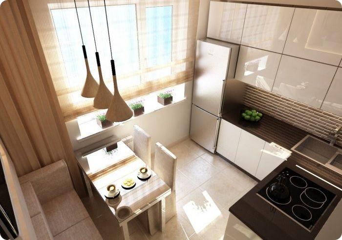Уютная небольшая кухня в тёплых тонах.