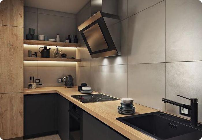 Натуральные материалы на функциональной кухне.