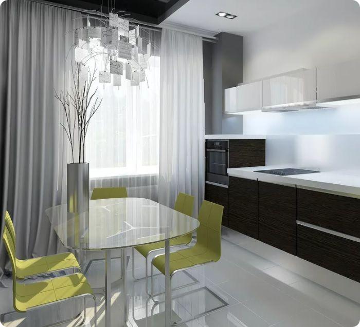 Кухня в стиле минимализм в серых тонах.