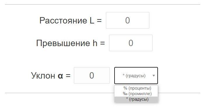 Калькулятор уклонов.