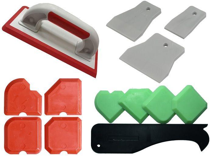 Резиновый шпатель, формовка для затирки швов и затирочная тёрка.