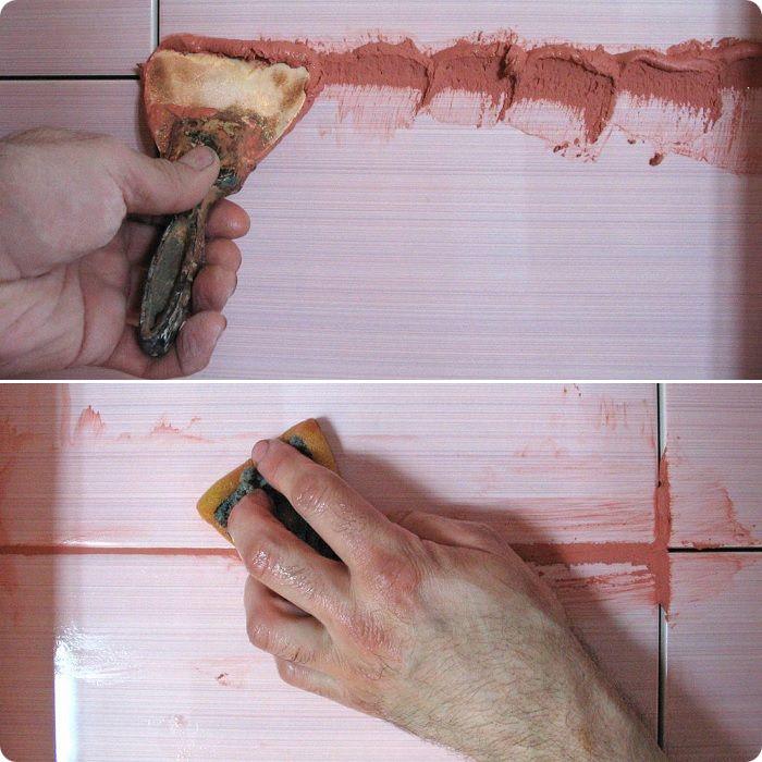 Затирка шва и уборка излишков при помощи губки.