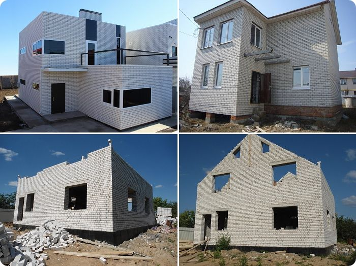Здания из белого силикатного кирпича.