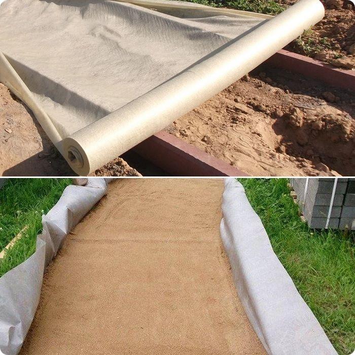 Подготовка дренажной системы включает укладку щебня на дно траншеи, выстеленной геотекстилем.