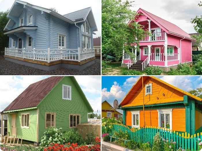 Крашеные дома из дерева.