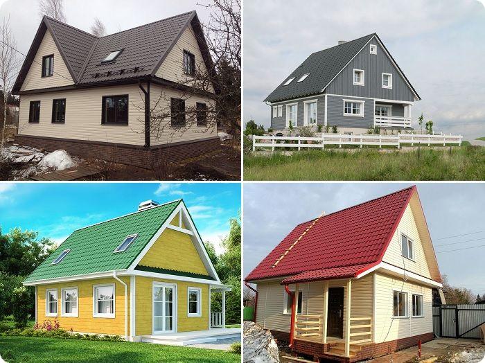 Коричневая, серая, зелёная и бордовая крови - самый популярный вариант для оформления деревянного дома.