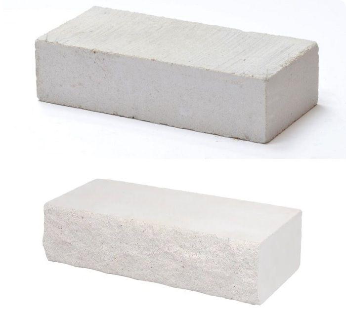 Белый силикатный полнотелый кирпич.