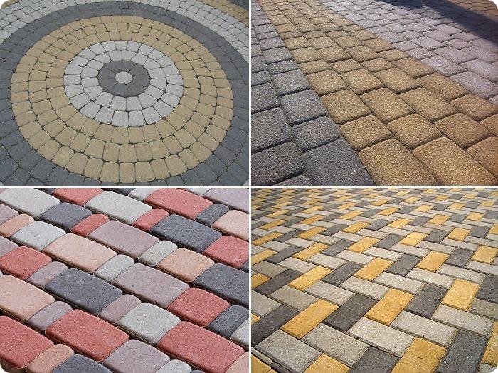 Уложенная тротуарная плитка.